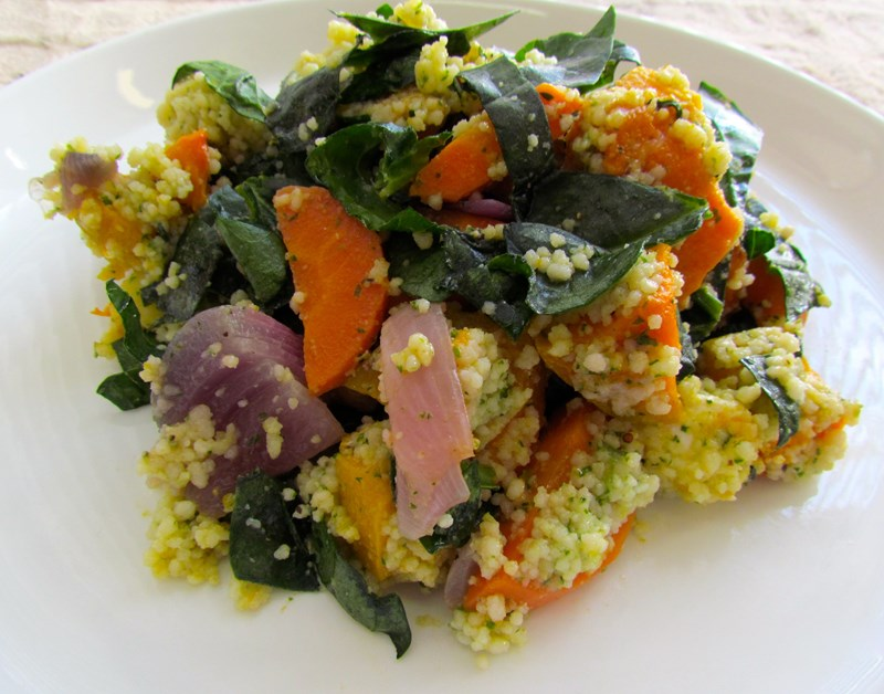 Pumpkin Quinoa Salad with Carrot, Spinach and Red Onion
