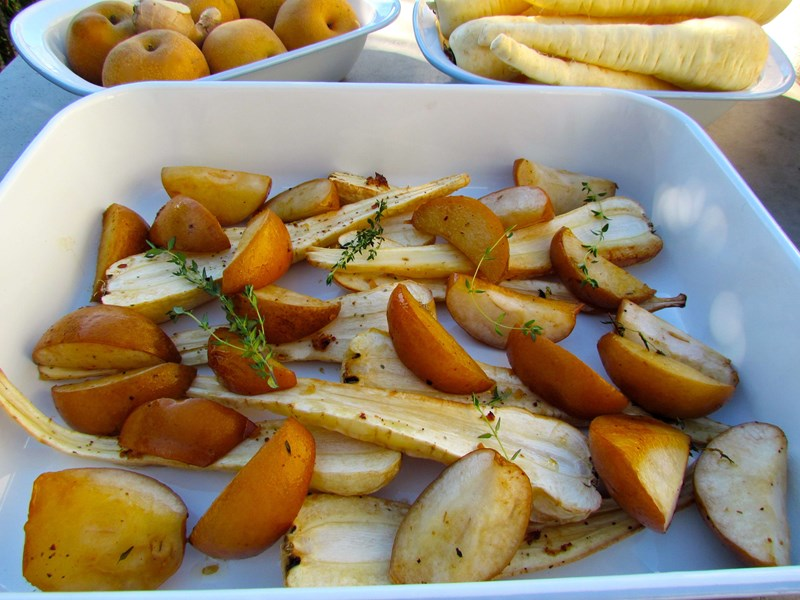 Roasted Pear and Parsnip with Ginger and Honey