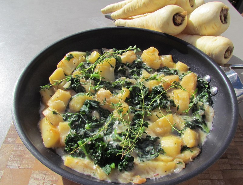 Creamed Parsnip with Kale and Ginger