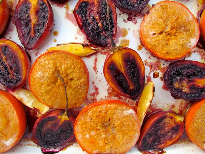 Roasted Tamarillos and Persimmons with Lemon