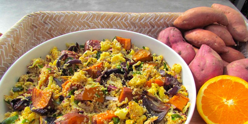 Roast Kumara and Cauliflower Quinoa Salad with Orange Mustard Dressing
