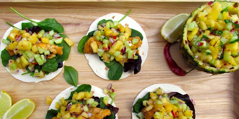 Pineapple Salsa with Lemon Fish Tacos