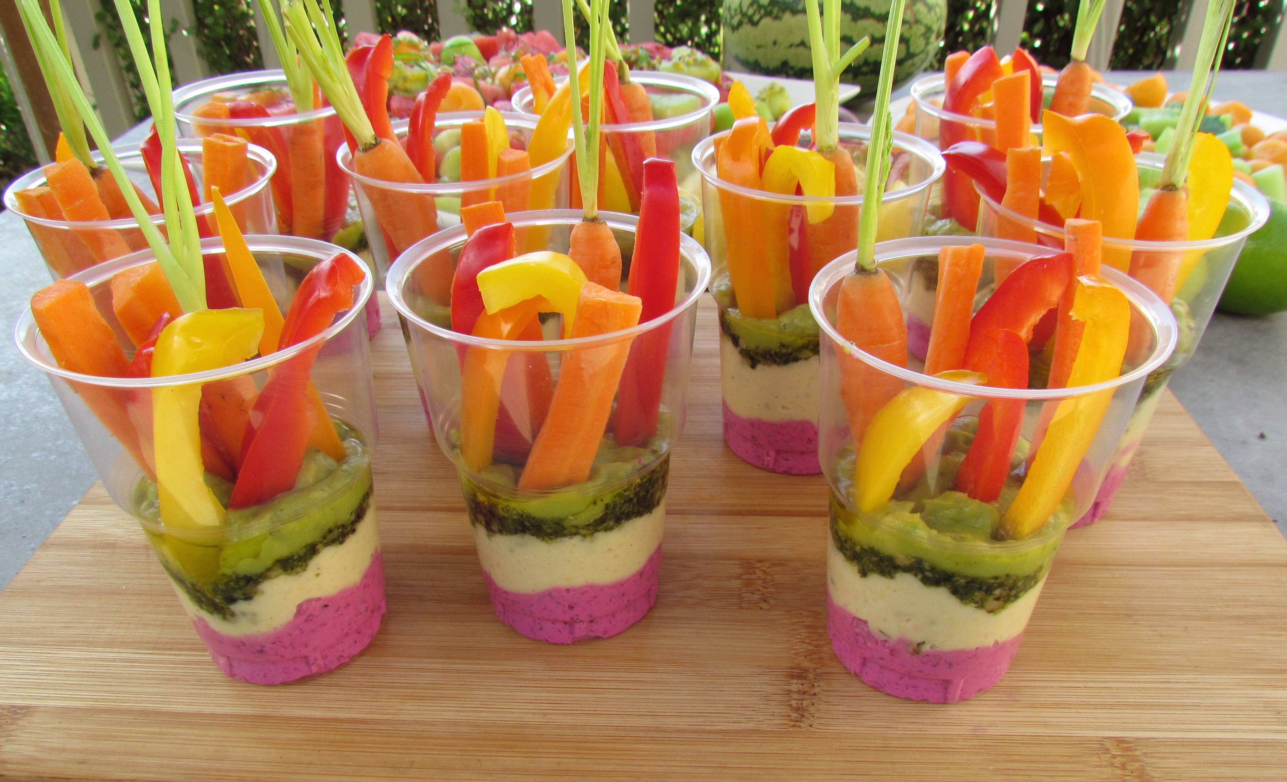 Colourful Vegetable Dip Cups