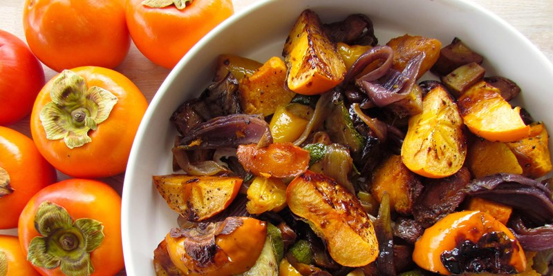 Warm Vegetable Salad with Persimmon