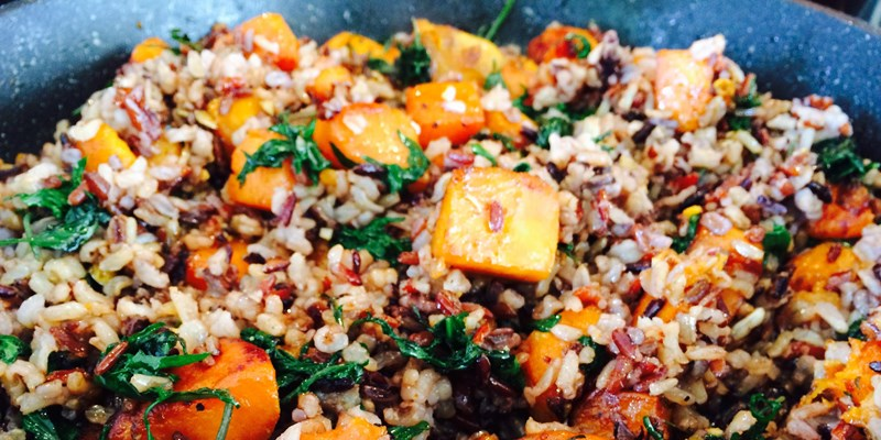 Kumara with Kale and Wild Rice