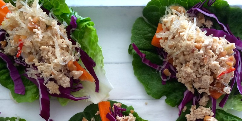 Lettuce Wraps with Orange Salsa and Peanut Chicken