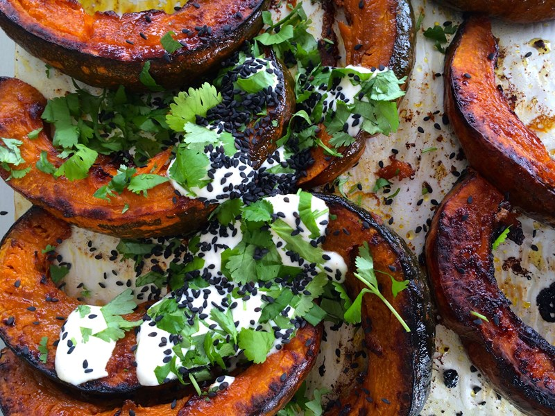 Roasted Spiced Pumpkin with Herb Citrus and Yoghurt Dressing