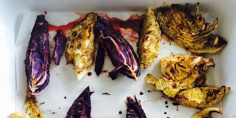 Roasted Cabbage with Balsamic Dressing