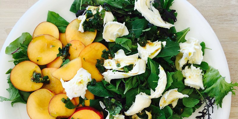 Nectarine Salad with Burrata and Chilli Mint Dressing