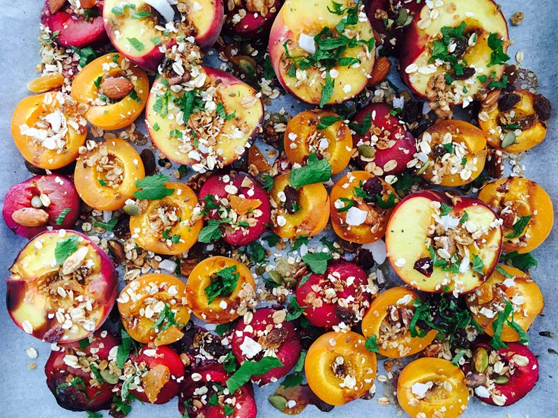 Roasted Summer Fruit with Honey and Balsamic Drizzle
