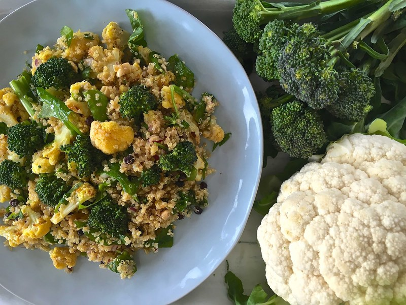 Spiced Broccoli & Cauliflower with Quinoa