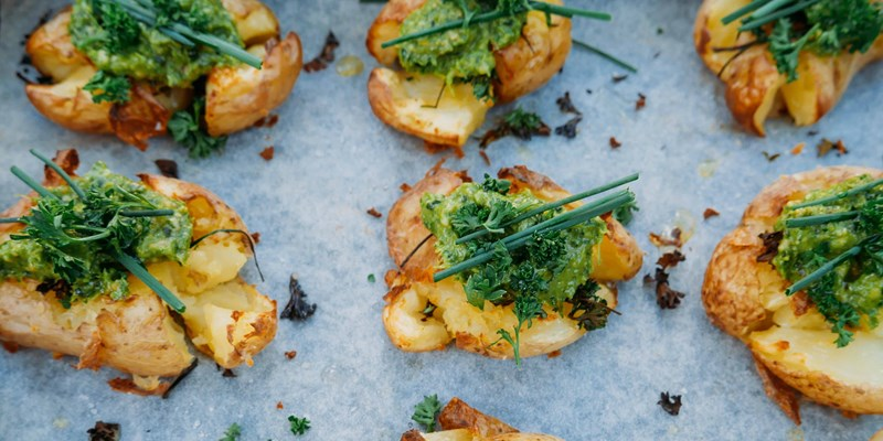 Julia and Libby's Crispy Smashed Potatoes with Pesto
