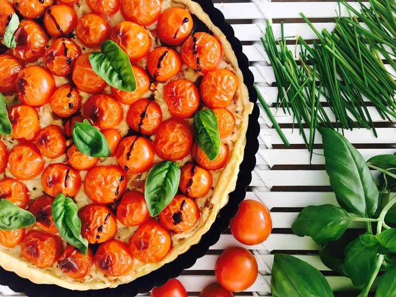 Cherry Tomato and Onion Jam Tart