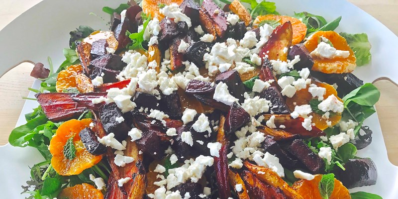 Roasted Parsnip and Beetroot Salad with Mandarin