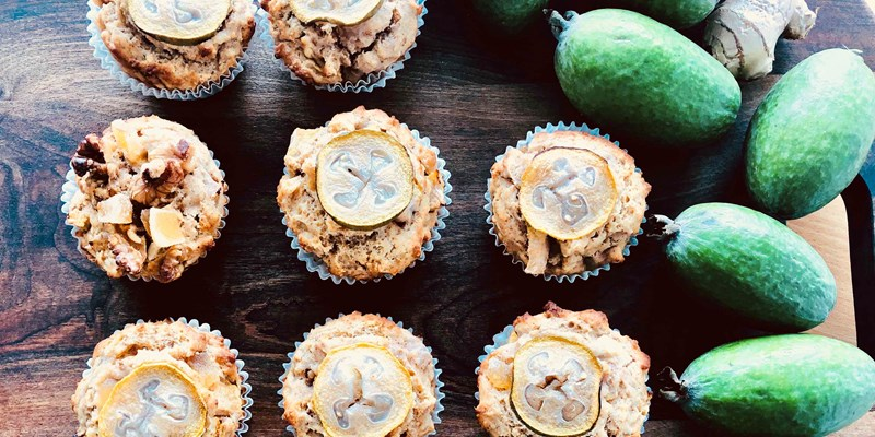 Feijoa Muffins with Ginger & Walnuts