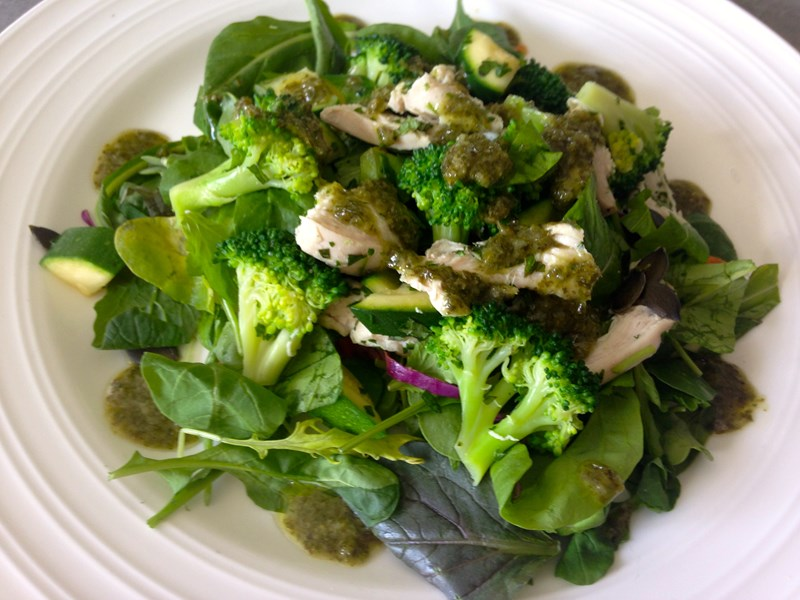 Broccoli, Bean and Courgette Salad with Chicken and Salsa Verde Dressing