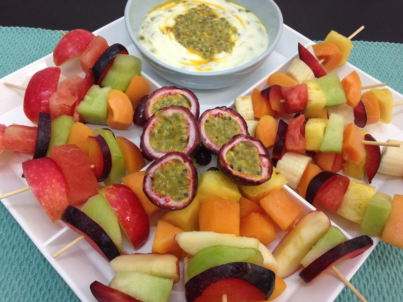 Fruit Skewers with Passionfruit Yoghurt