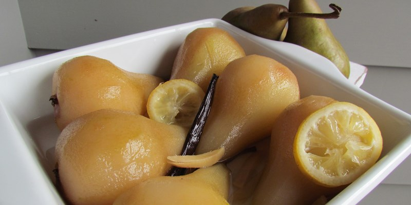 Ginger, Lemon and Vanilla Poached Pears